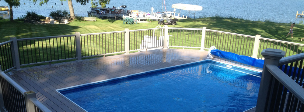 large deck with pool in Milwaukee lake country area